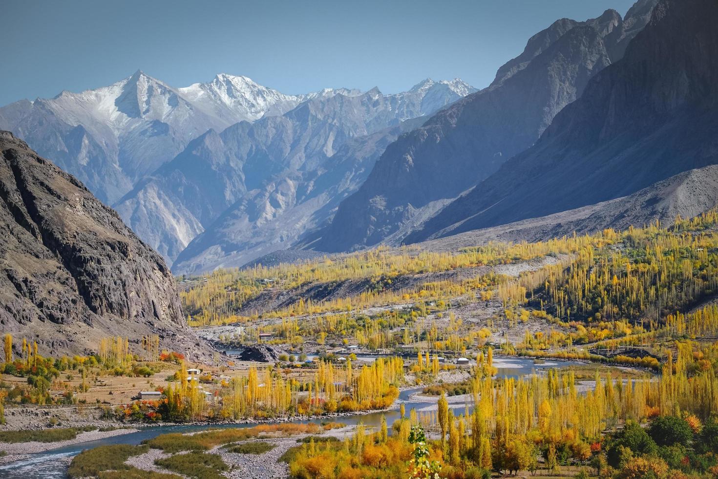 Winding river flowing through mountainous area in autumn photo
