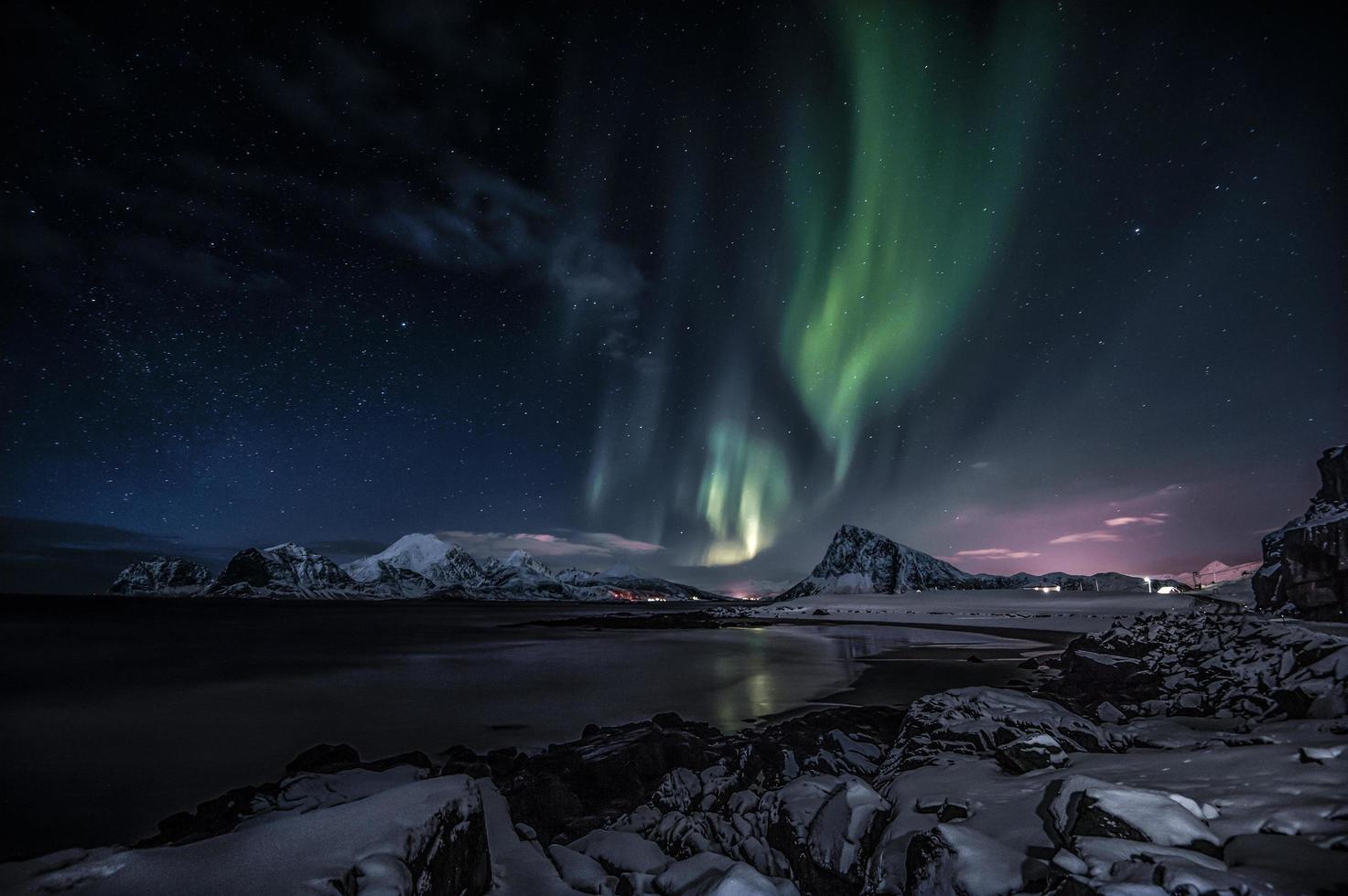 Aurora boreal en el norte de Noruega foto