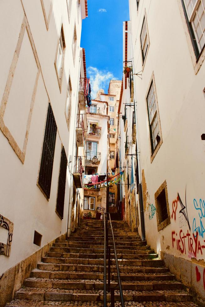 White buildings and stairs photo