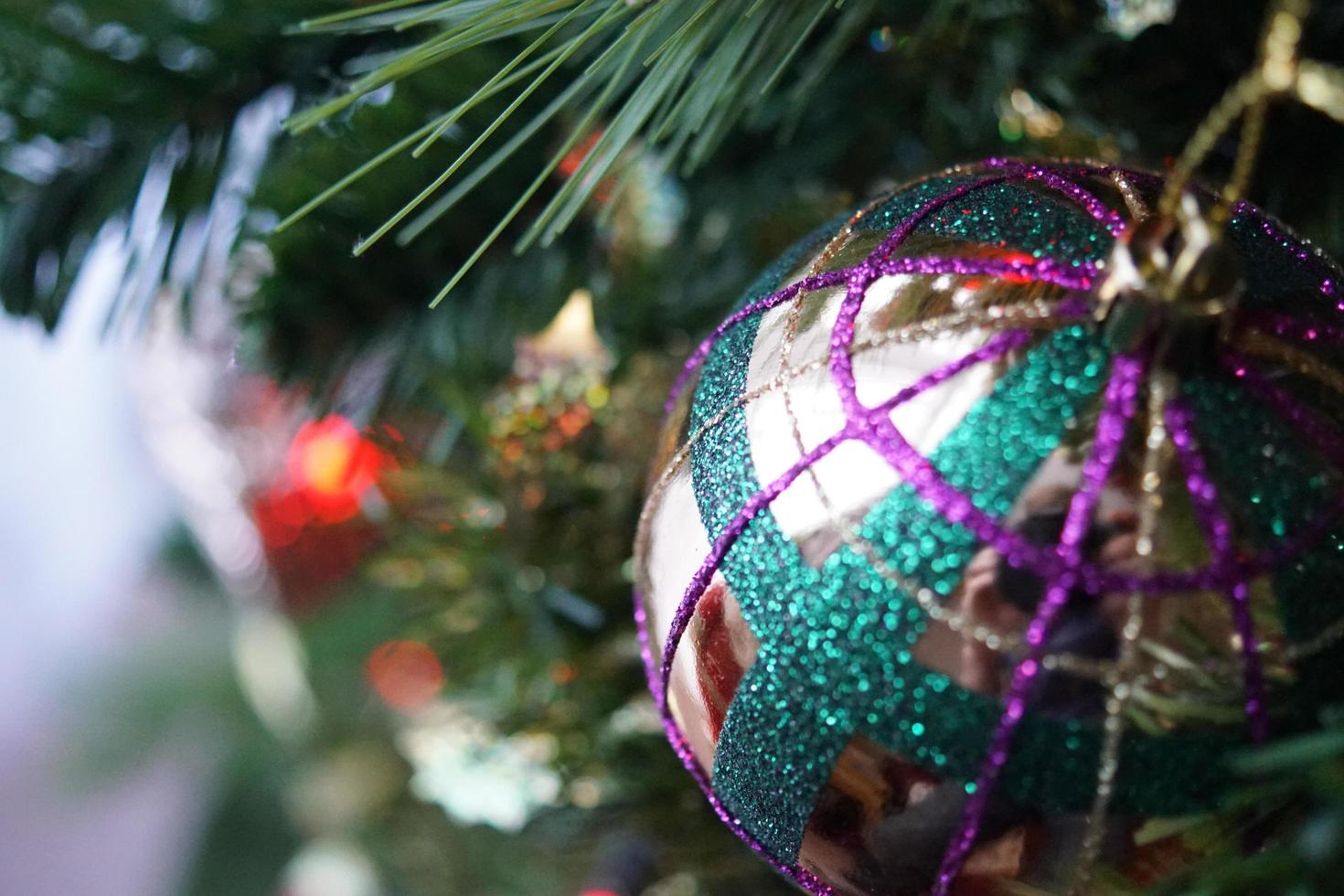 Close up view of Christmas tree bulb photo