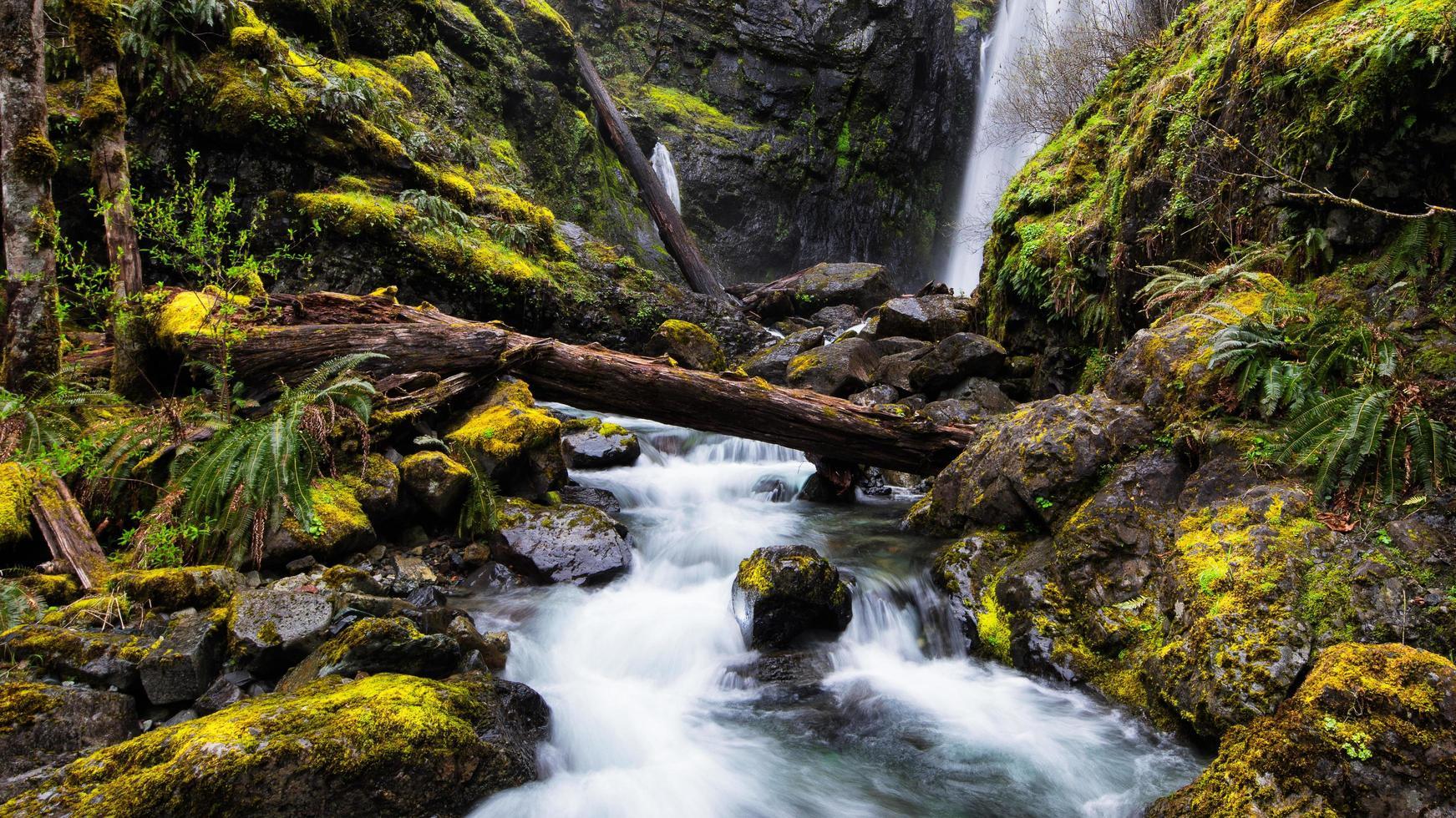 Waterfall river between rocks photo
