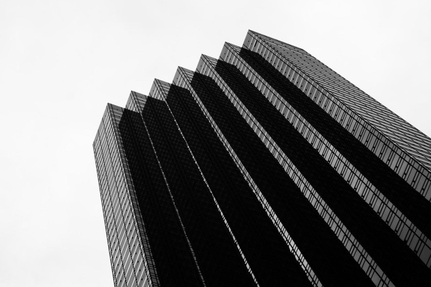 Black and white photo of skyscraper