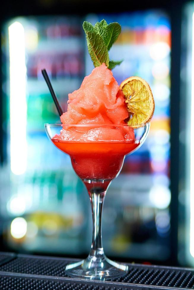 Fruit sorbet cocktail in a glass photo