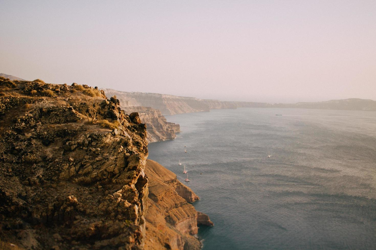 Scenic view of the ocean near cliffs photo