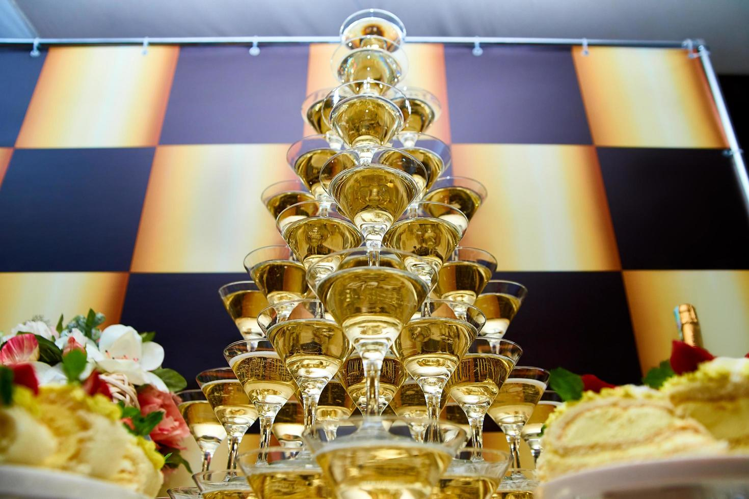 Pyramid of champagne photo