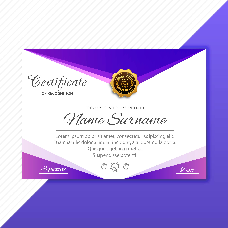 appreciation certificate purple angled vector clipart vectors