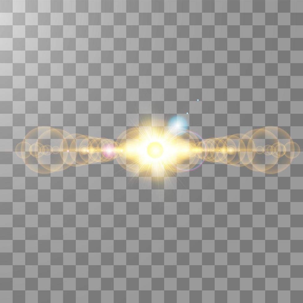 efecto de destello de lente de luz solar horizontal vector
