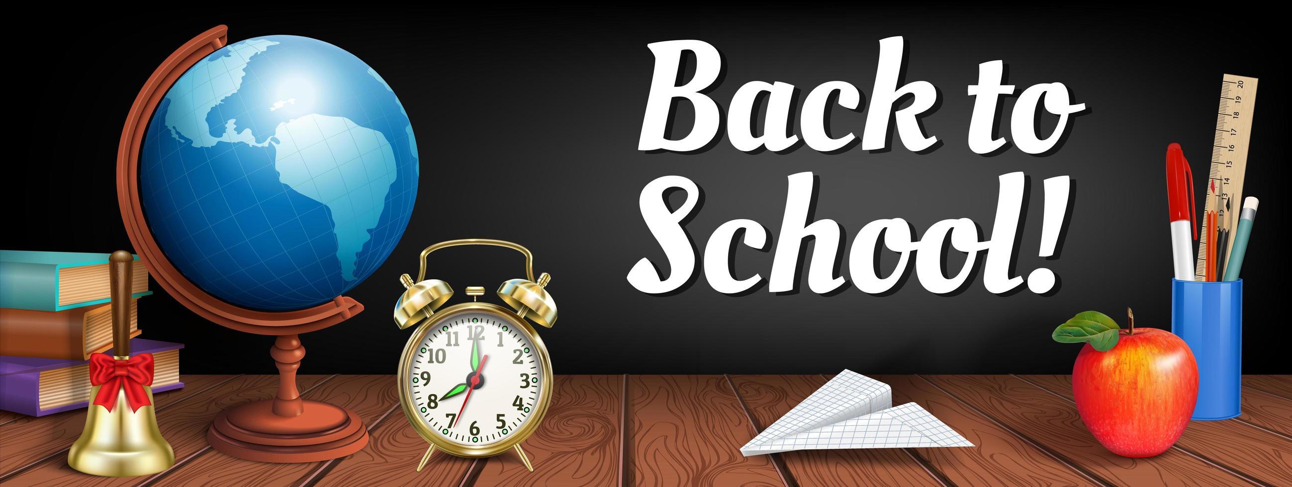 Banner de regreso a la escuela con elementos realistas en madera vector