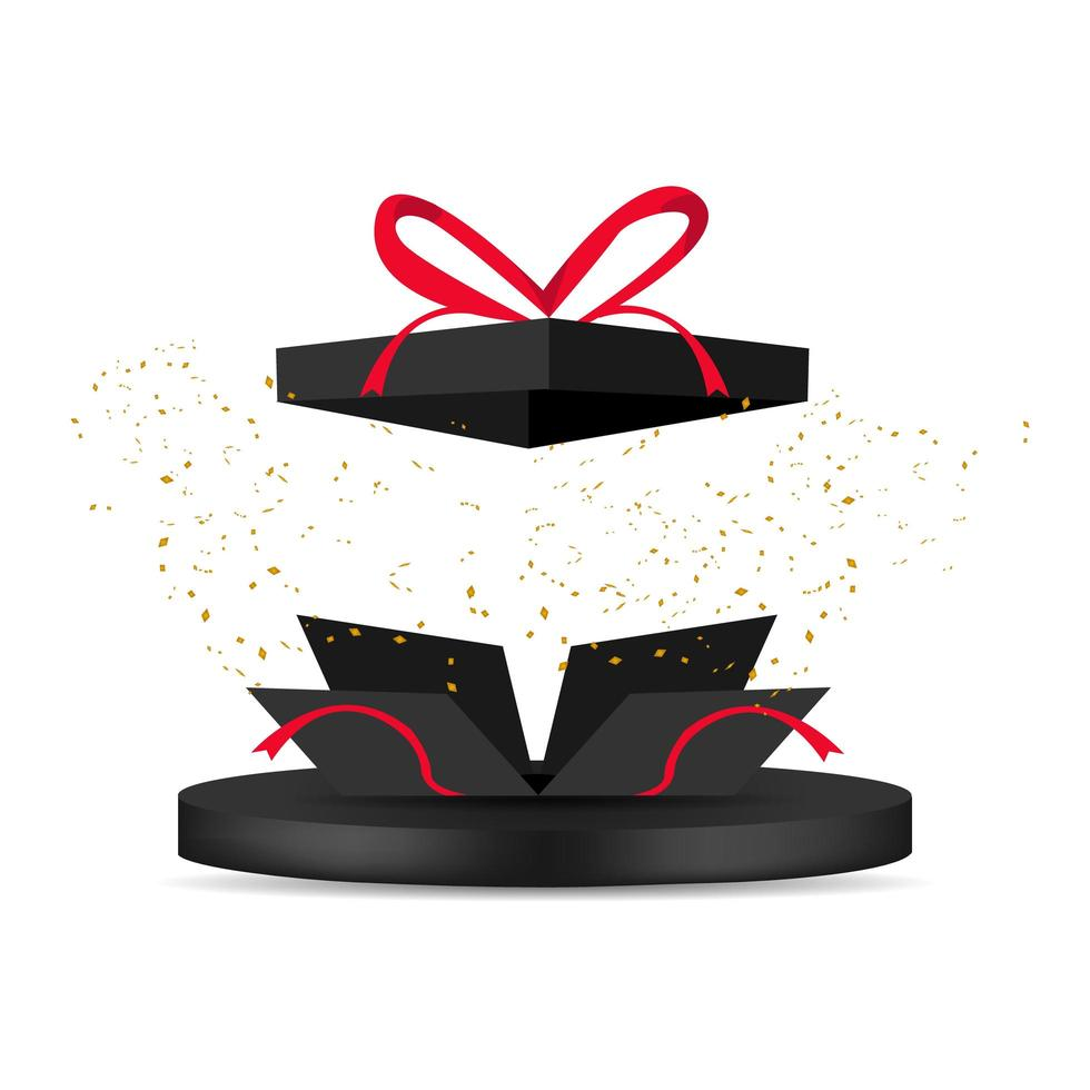 Black gift box bomb with glitter and 3d podium vector