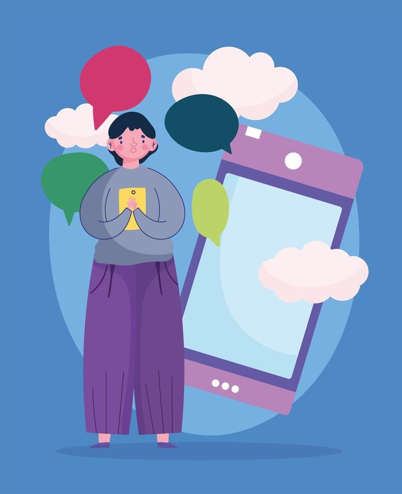 joven usando teléfono inteligente hablar burbujas mensajes vector