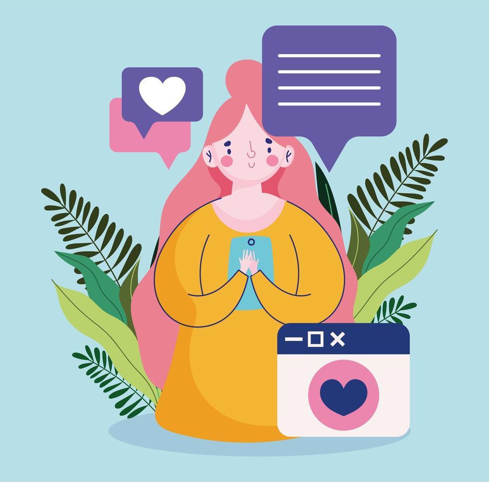 mujer joven con teléfono inteligente dispositivo discurso burbuja sms texto amor vector