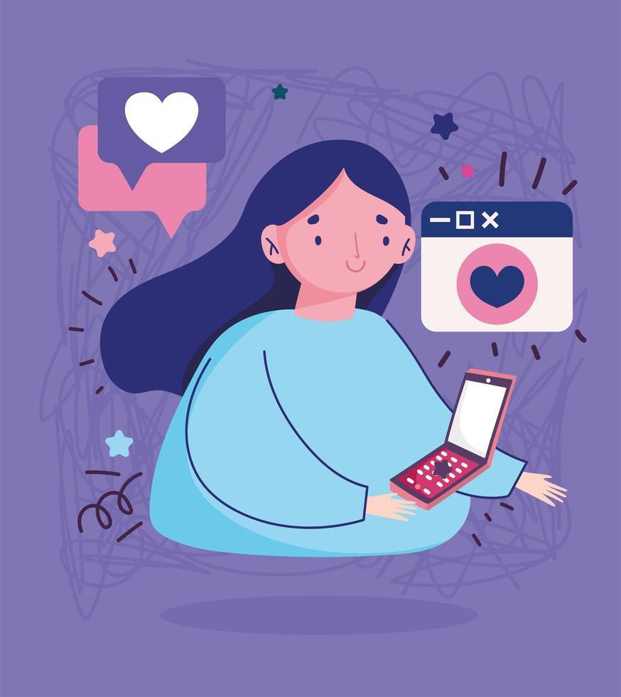 Mujer joven con teléfono inteligente mensaje romántico amor cartoon vector
