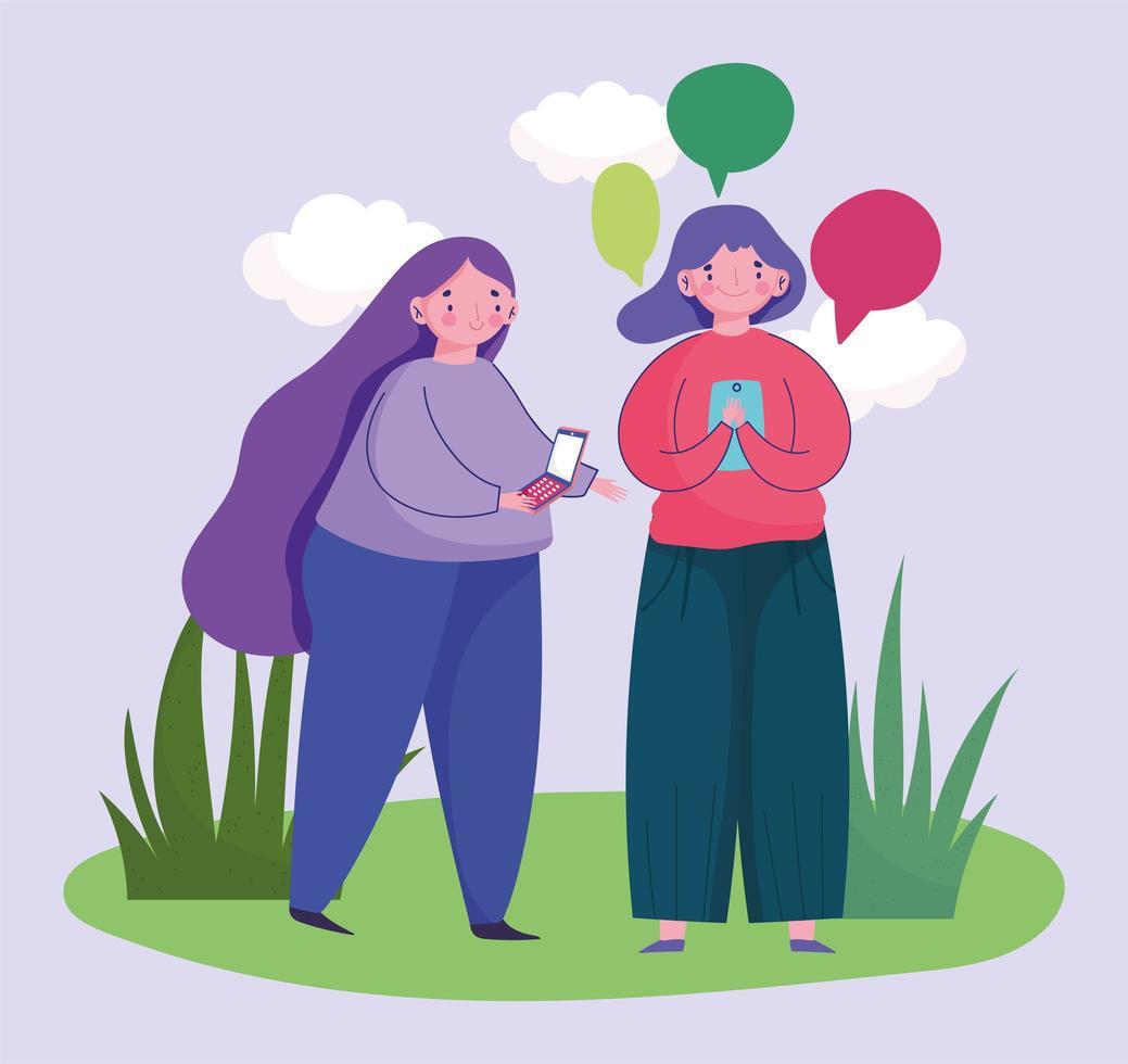 Las mujeres jóvenes que usan el teléfono inteligente discurso burbuja hablando vector