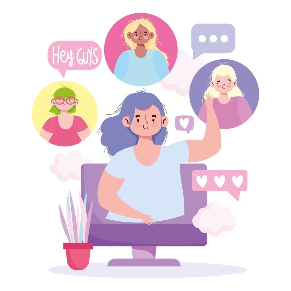 chicas hablando en reunión de computadora vector
