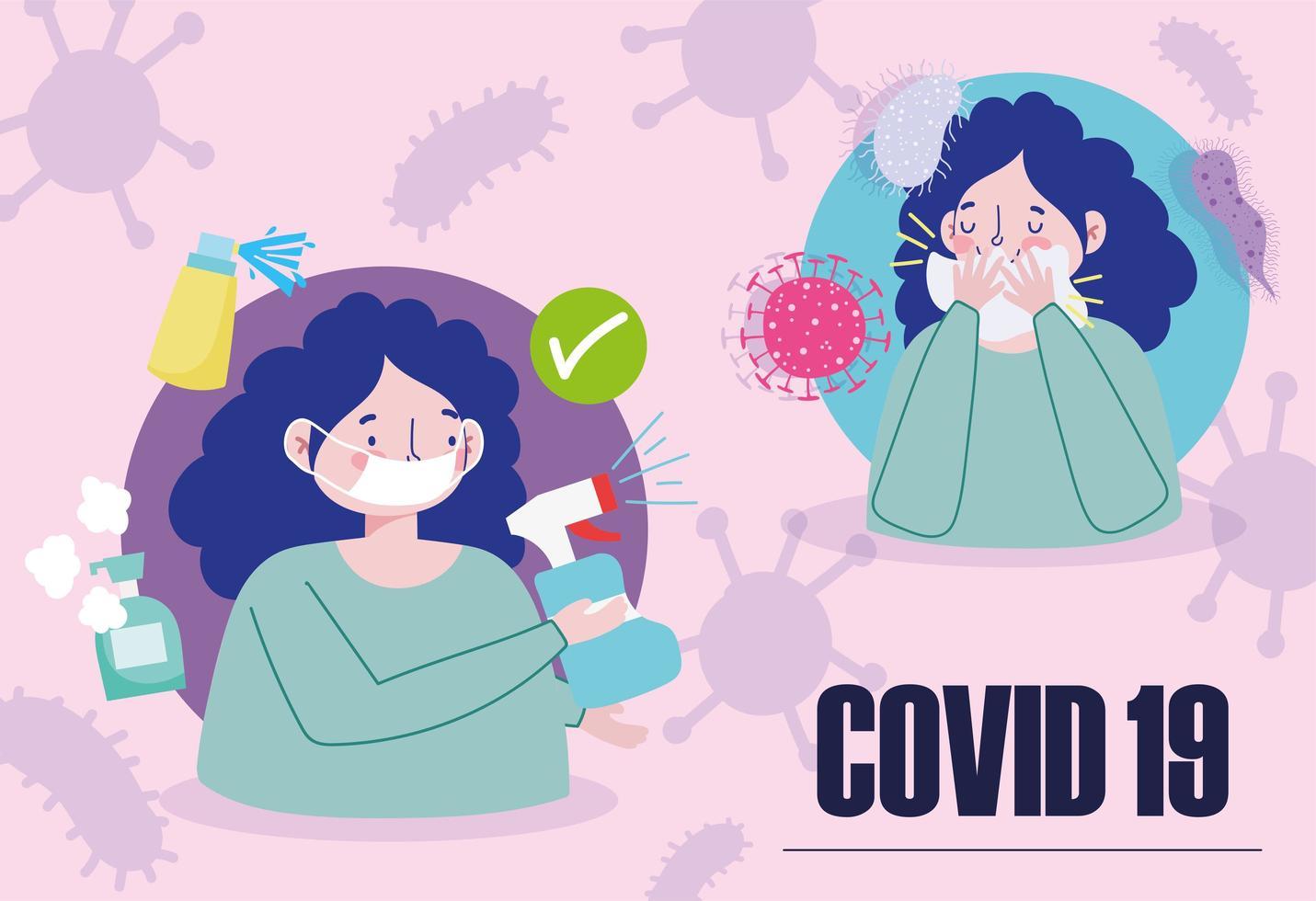 Cartel de coronavirus con mujer desinfectando y cubriendo la boca vector