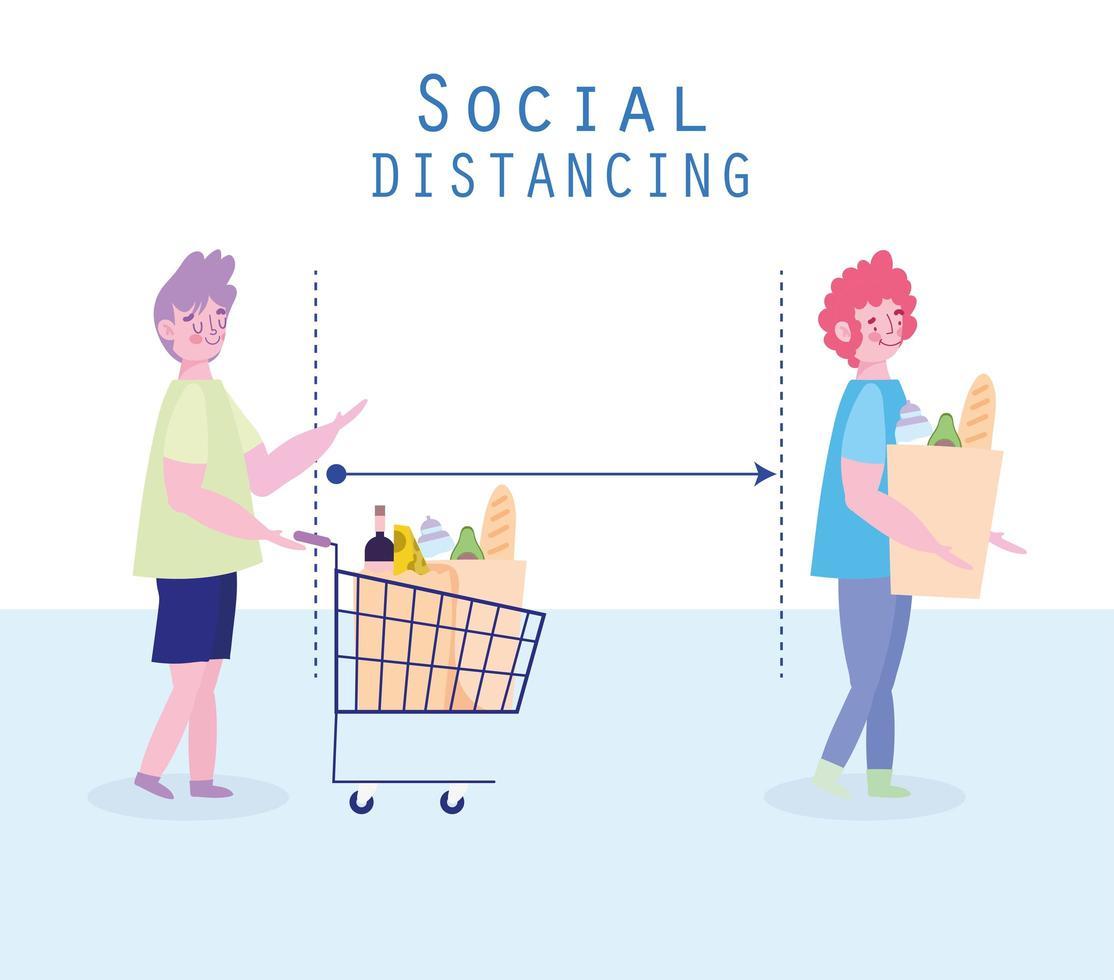 distanciamiento social de la mujer y el hombre en la cola del supermercado vector