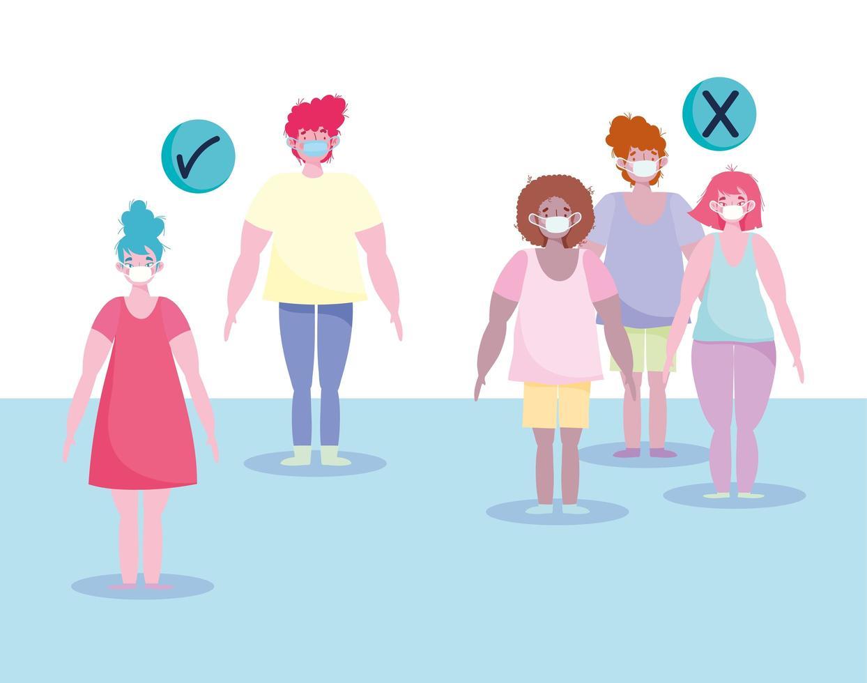 façon correcte de pratiquer la conception de distanciation sociale vecteur