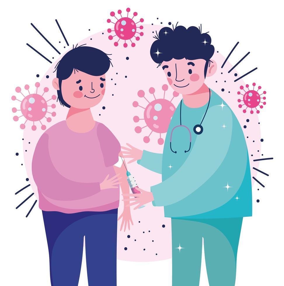 enfermera profesional dando vacuna al paciente vector