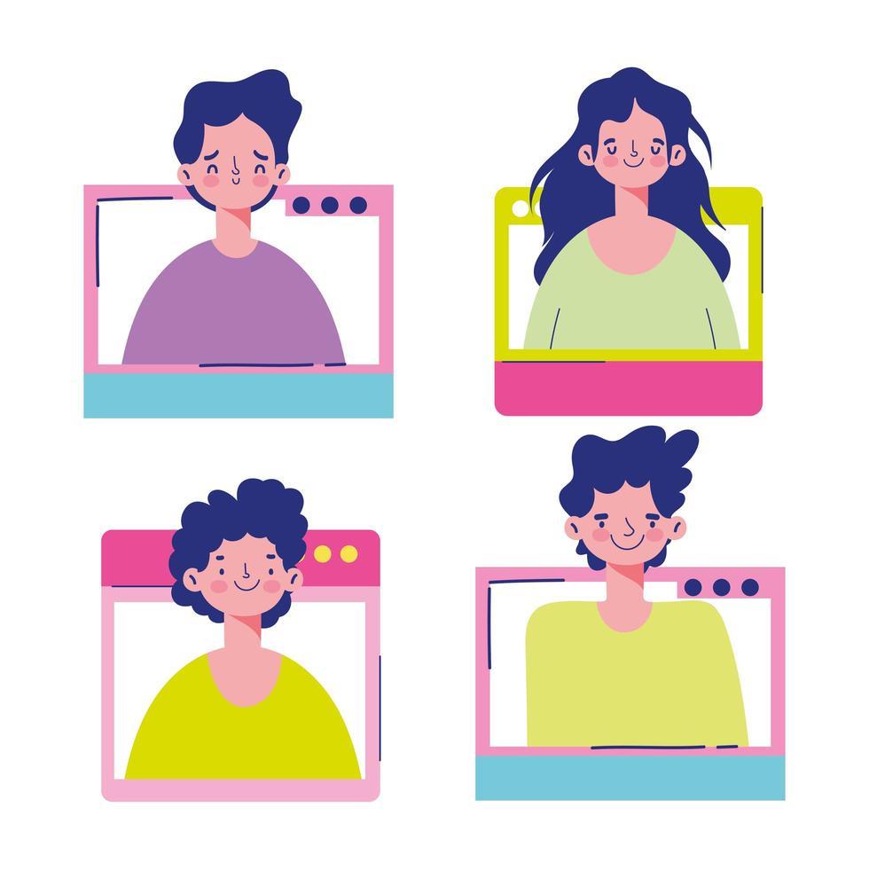 personas en diferentes pantallas y ventanas vector