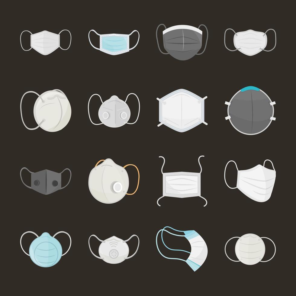 conjunto de máscara médica de estilo de dibujos animados vector