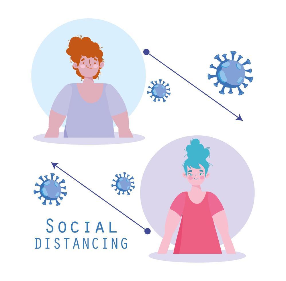 cartel de distanciamiento social de coronavirus con dos mujeres vector