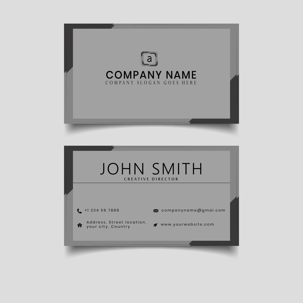 Black and grey border business card vector