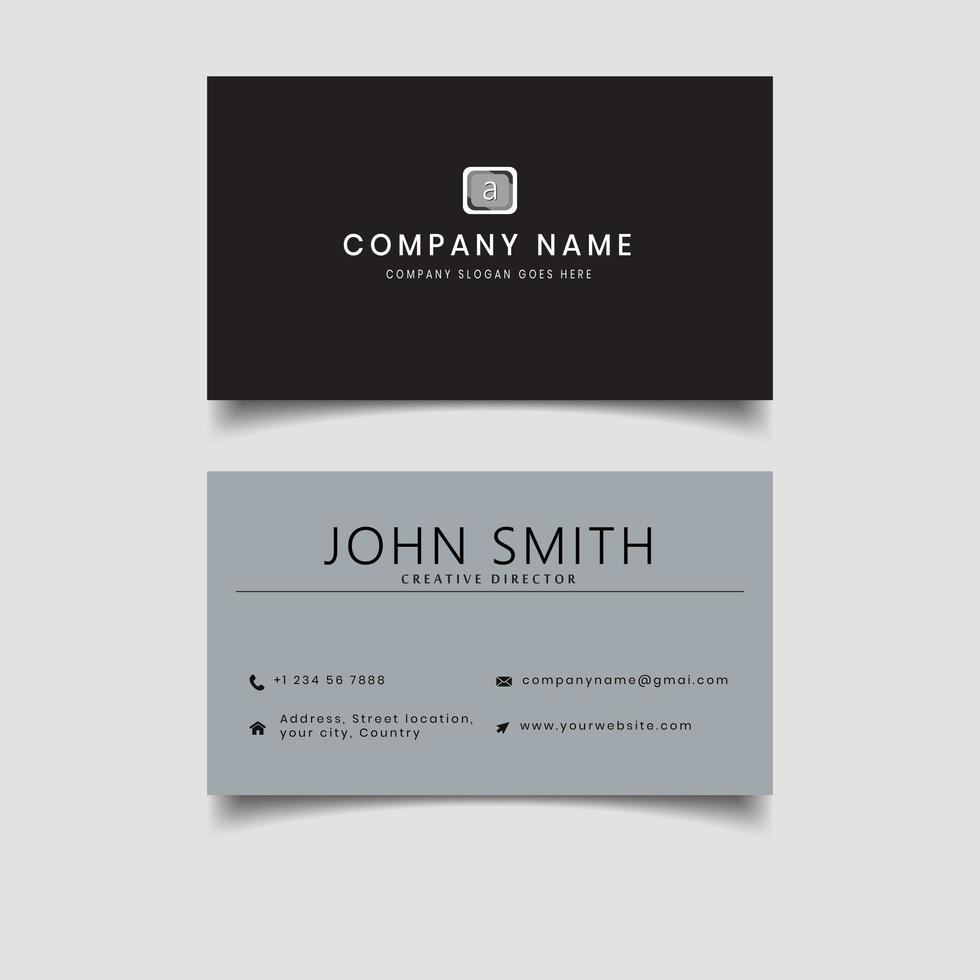Black and grey two sided business card vector