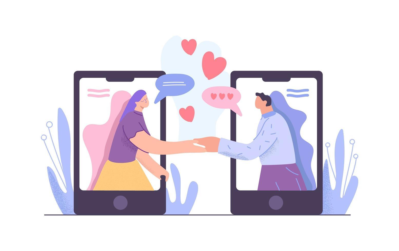 hombre y mujer tomados de la mano reunidos en la aplicación de citas vector