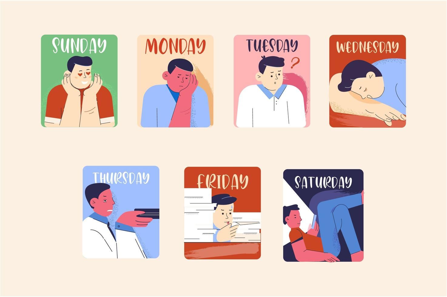 Emotional days of the week of feelings with characters vector