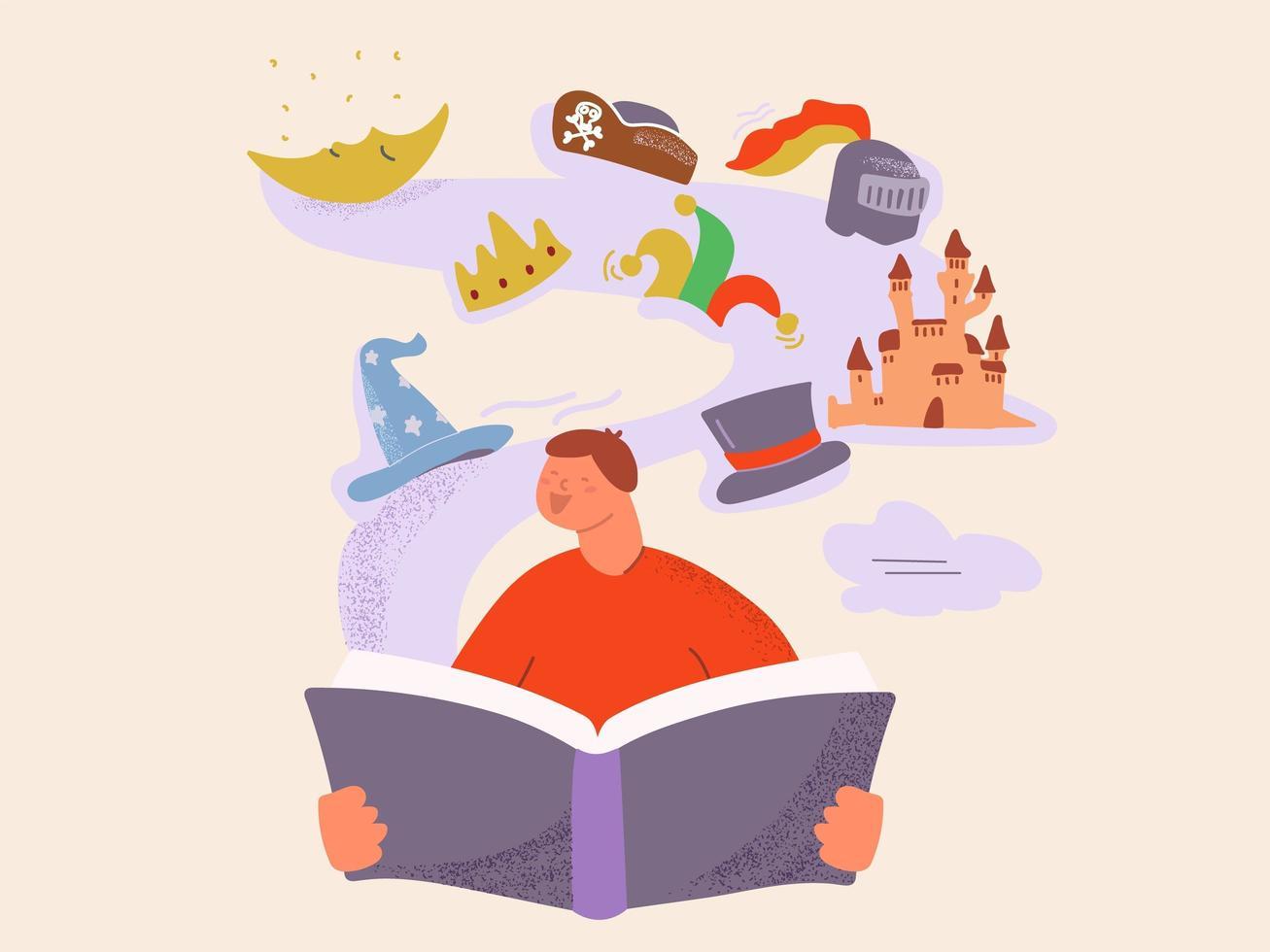 Cartoon child reading magic fairy tail book vector