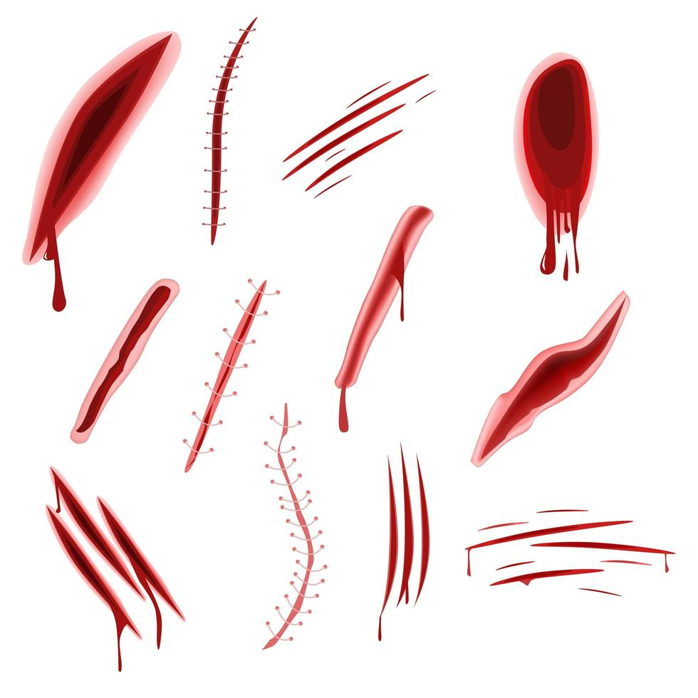 Graphic realistic wound set vector