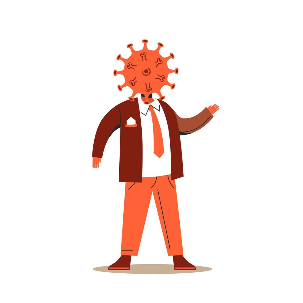 Cartoon male character in suit with virus head vector