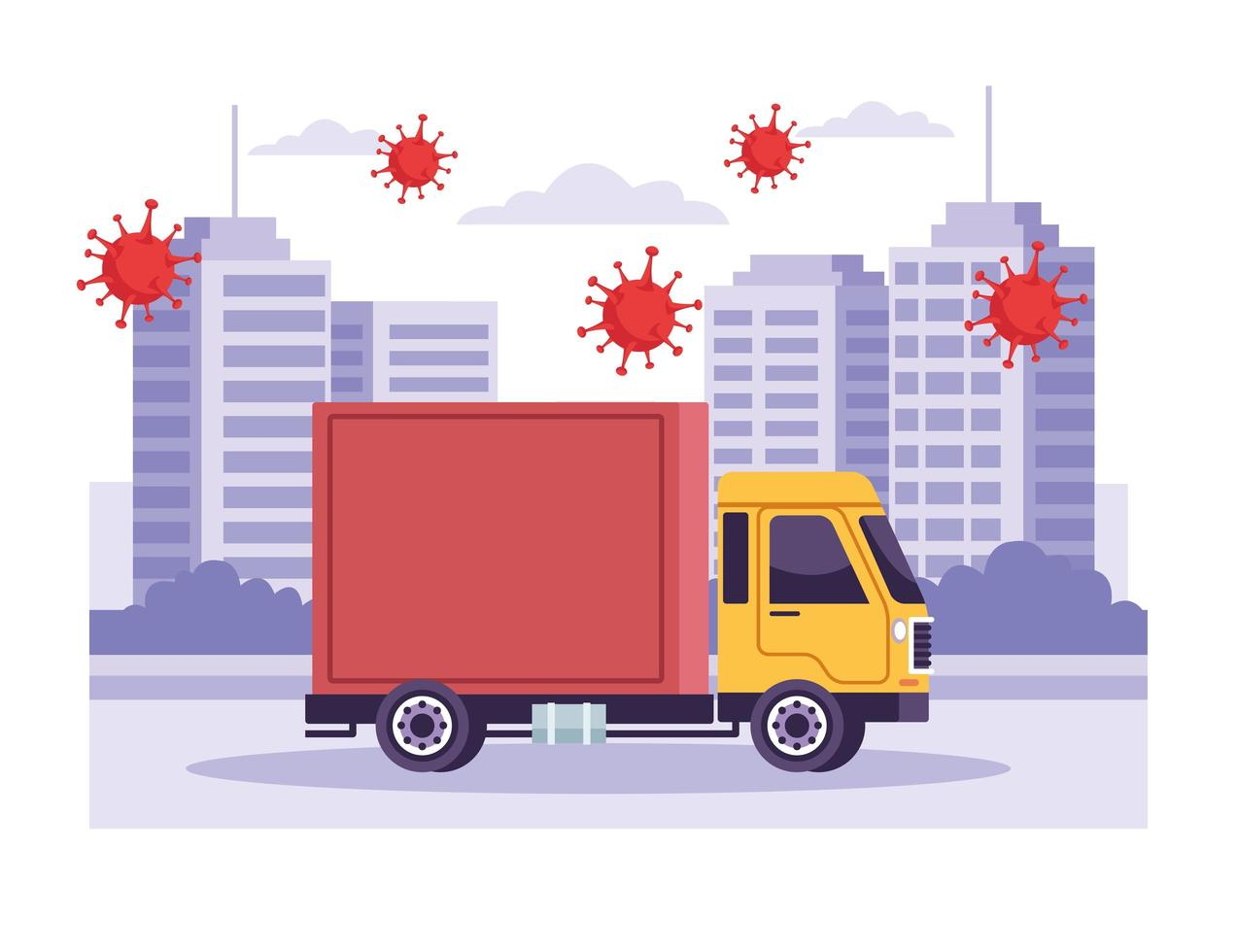 Truck delivery service vector