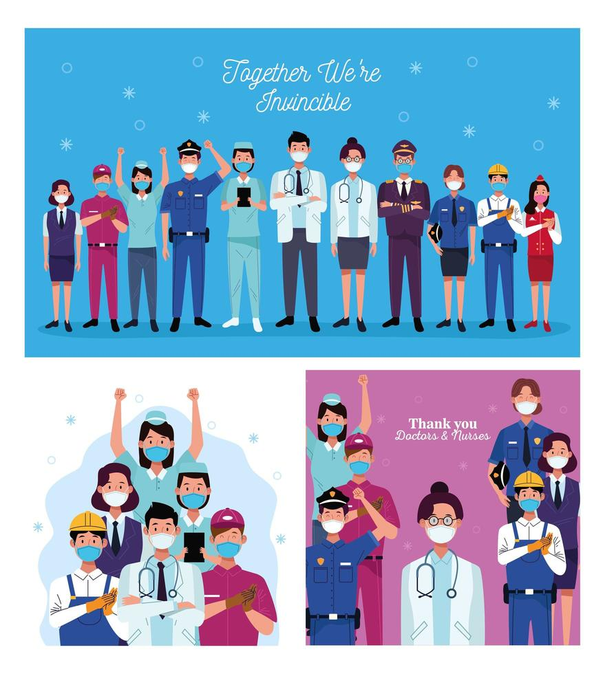 Group of workers positive messages vector