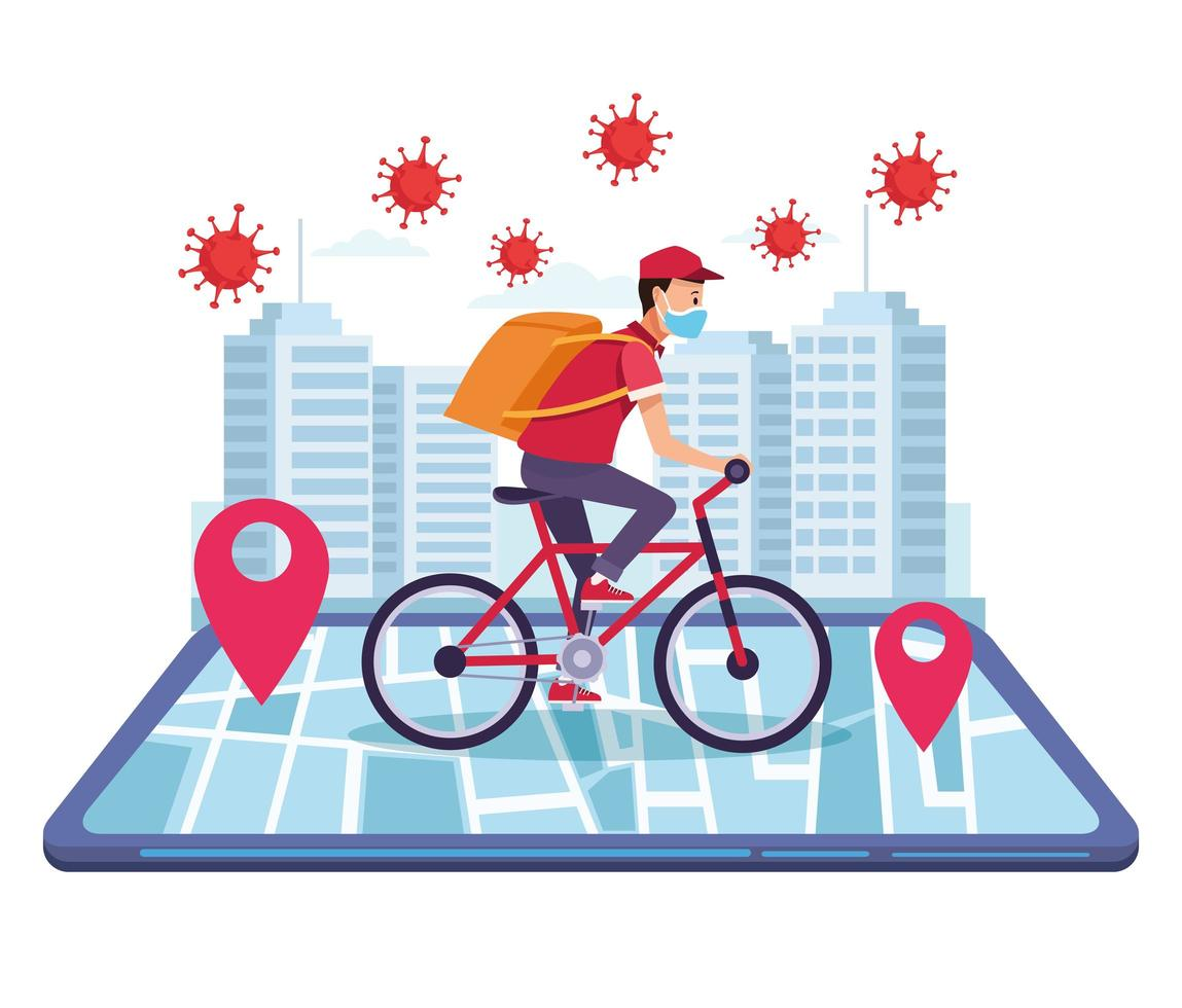 Courier in bicycle delivery vector