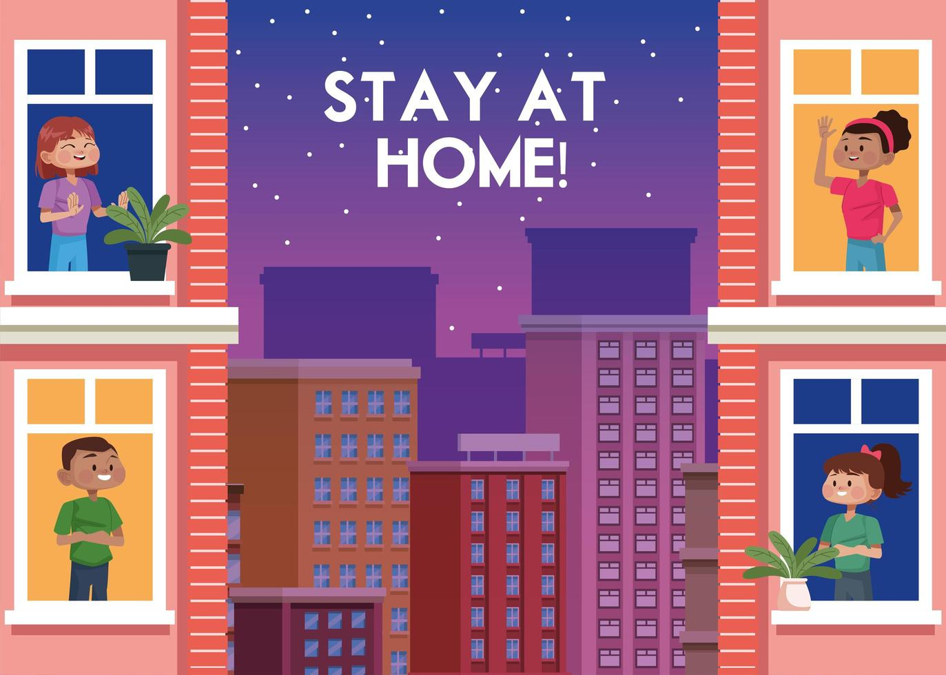 People staying at home in the city vector