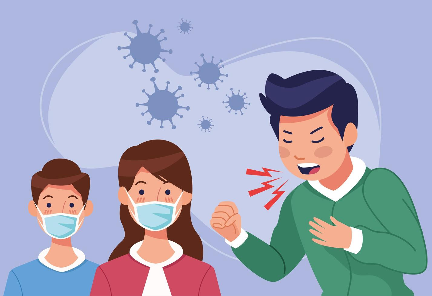 Coughing man and kids in face masks vector