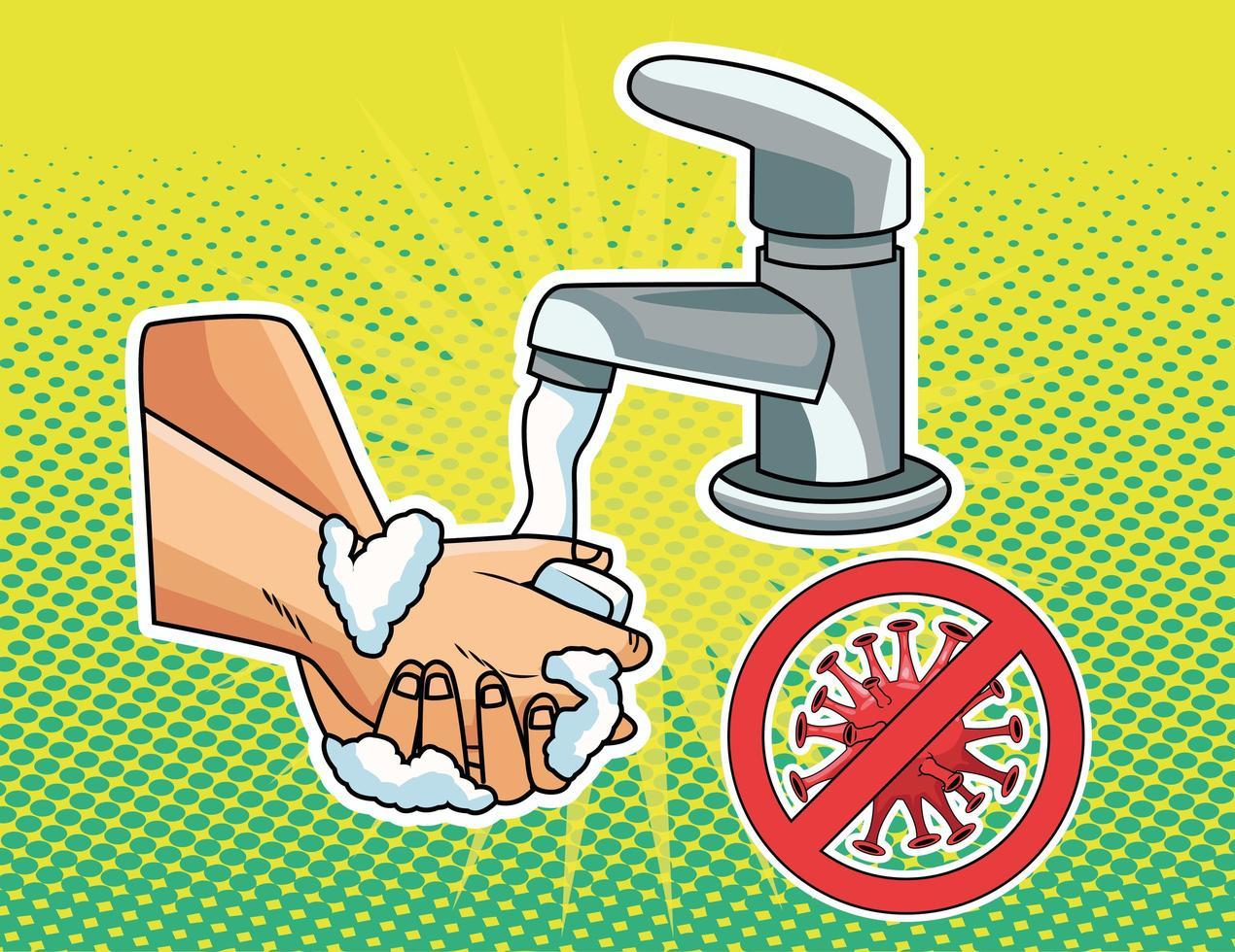 Hands washing prevention method  vector