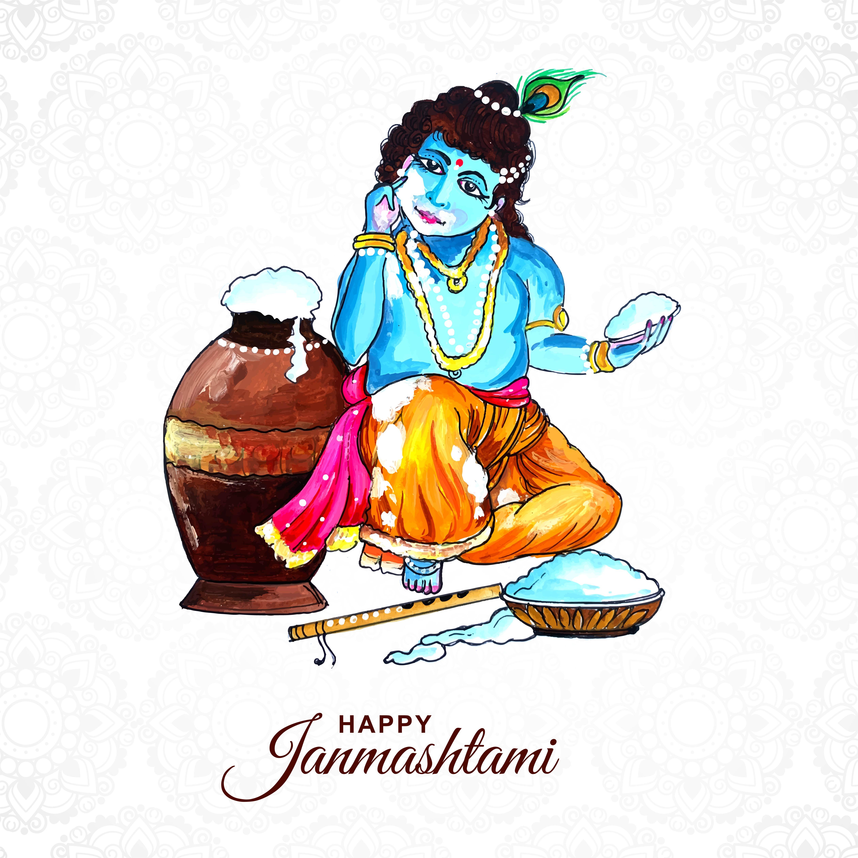 simple happy krishna janmashtami greeting card design