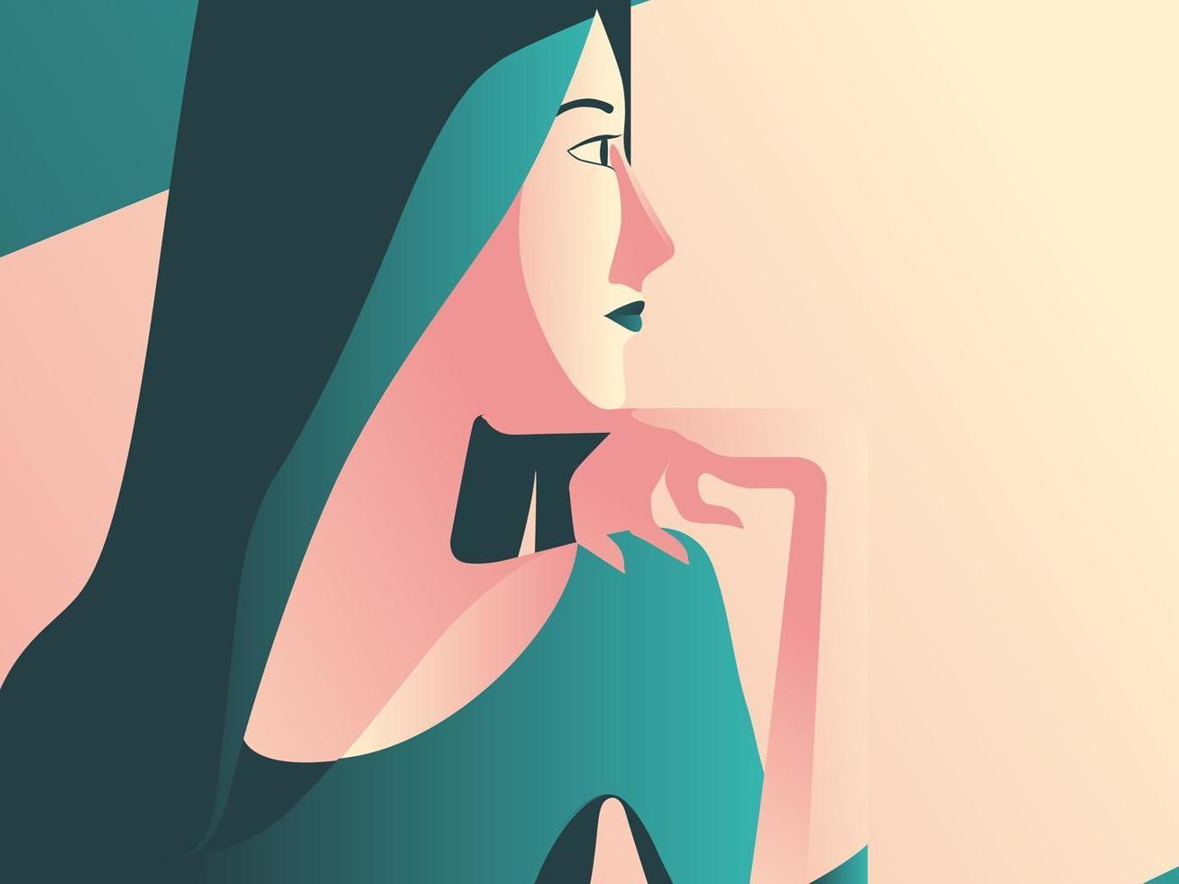 Minimal Art of Woman Having a Coffee vector