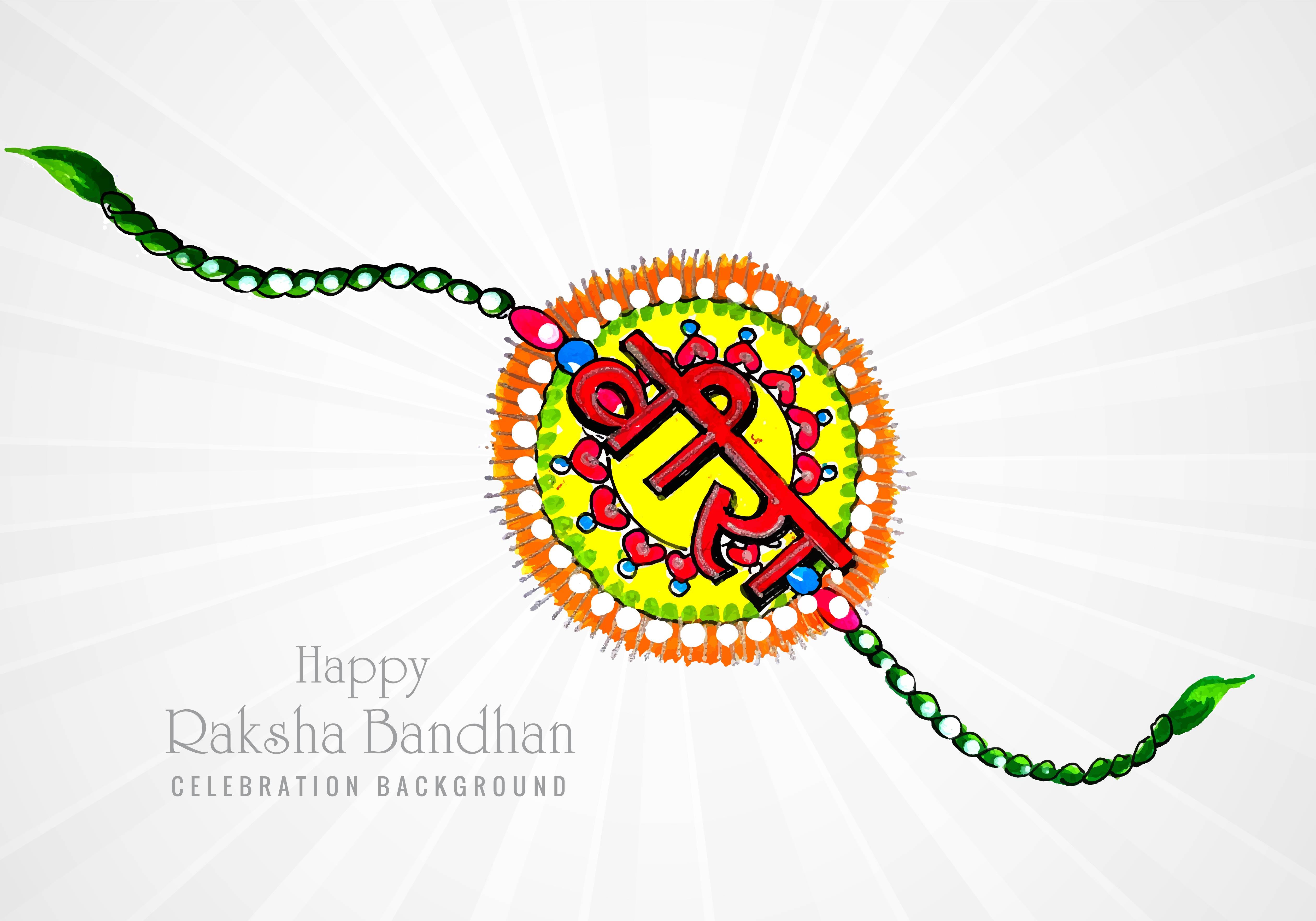 Beautiful happy raksha bandhan hand drawn card design ...