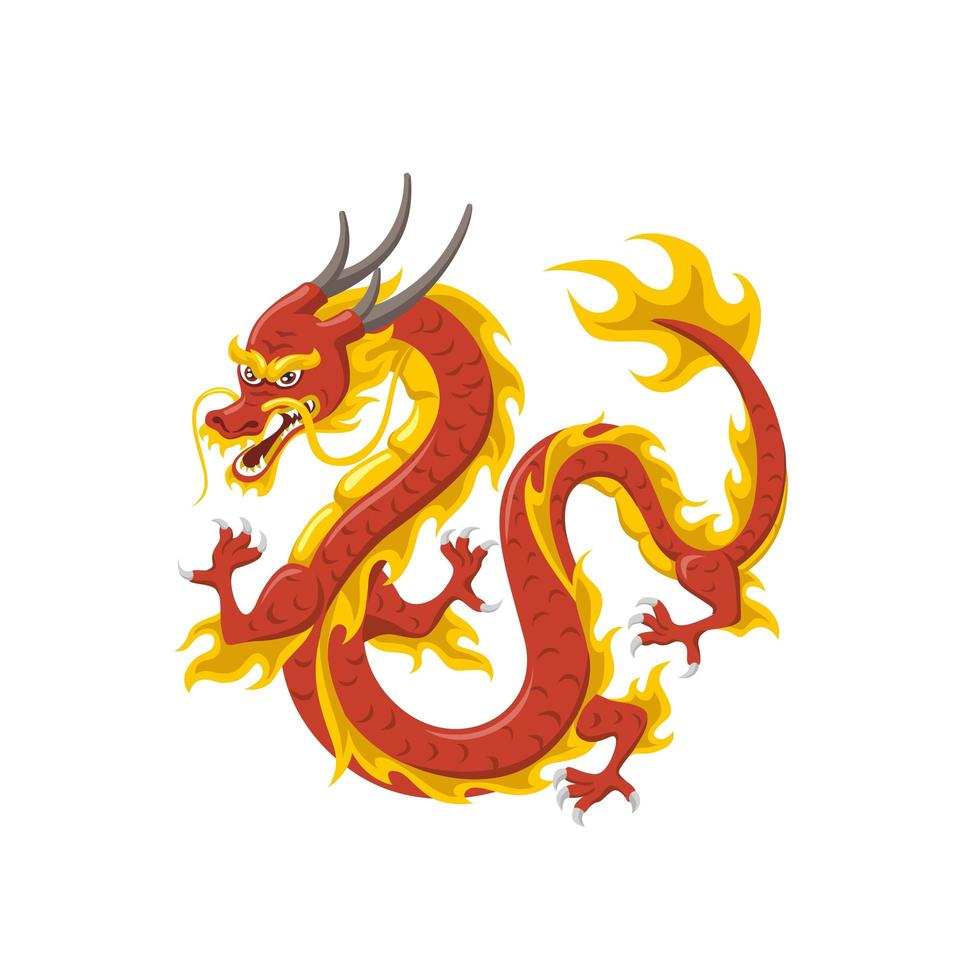 Dragón rojo chino símbolo de poder y sabiduría vector