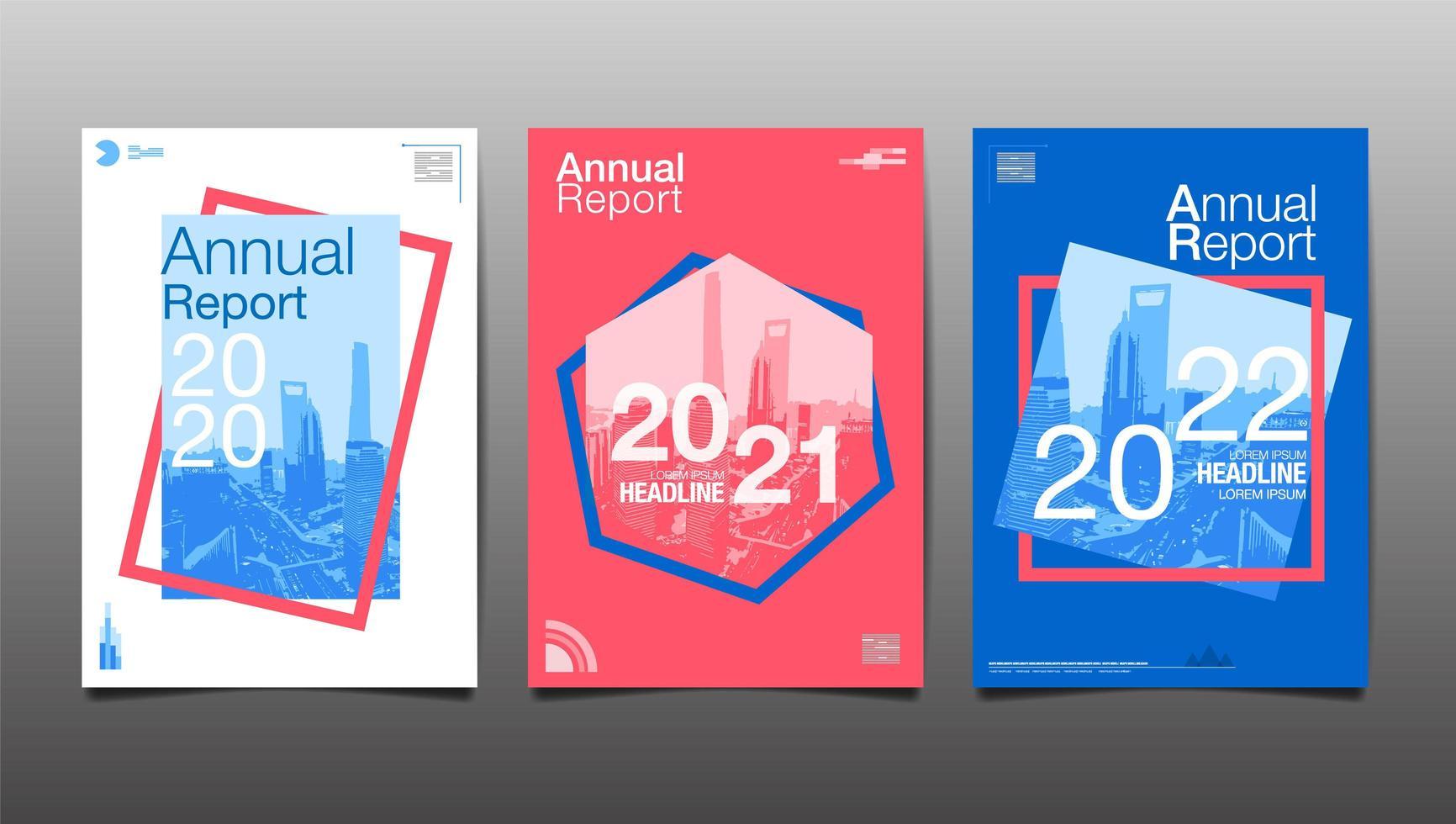 Informe geométrico colorido 2020, 2021, 2022 informes anuales vector