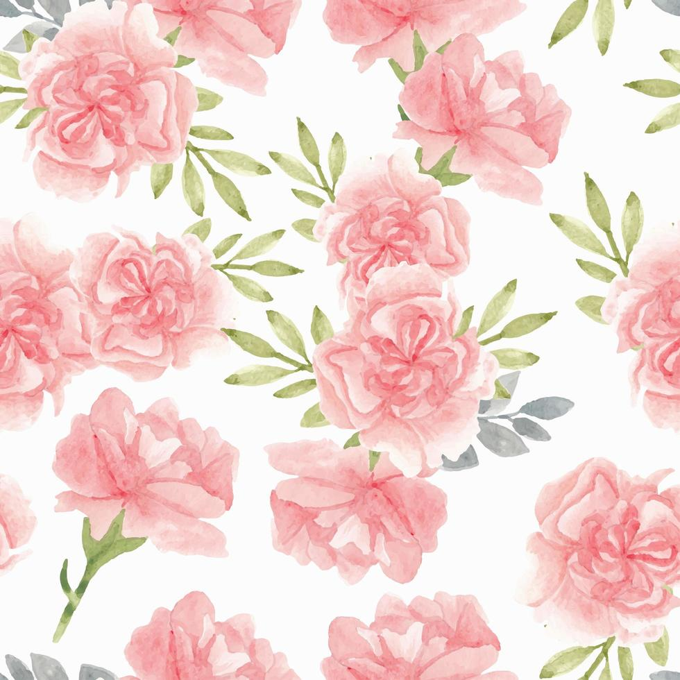 Watercolor pink carnation flower pattern vector