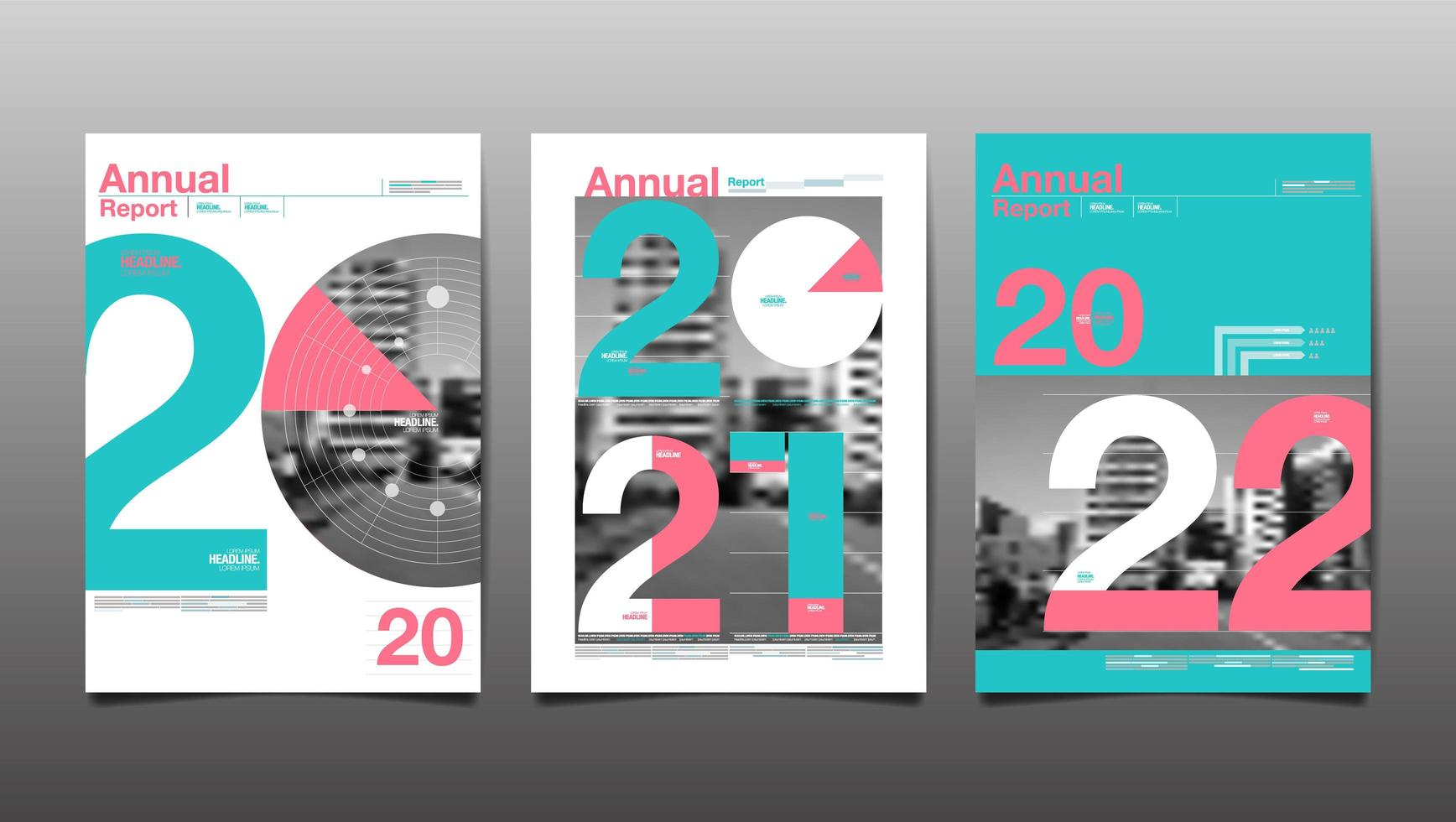 Teal and pink 2020, 2021, 2022 annual reports vector