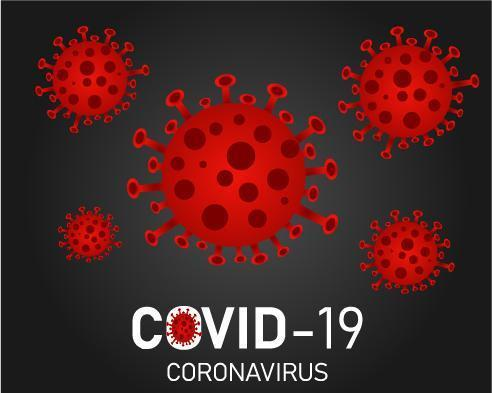 Red Covid-19 particles vector