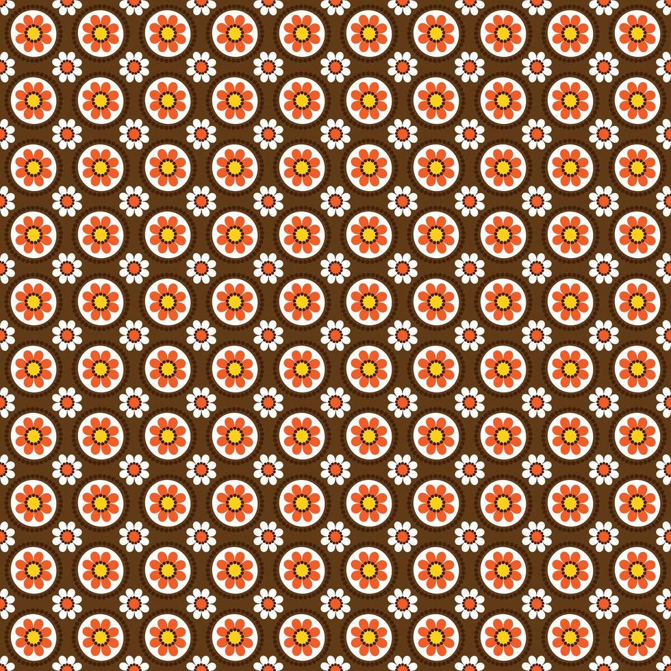 motif floral circulaire de style mod vecteur