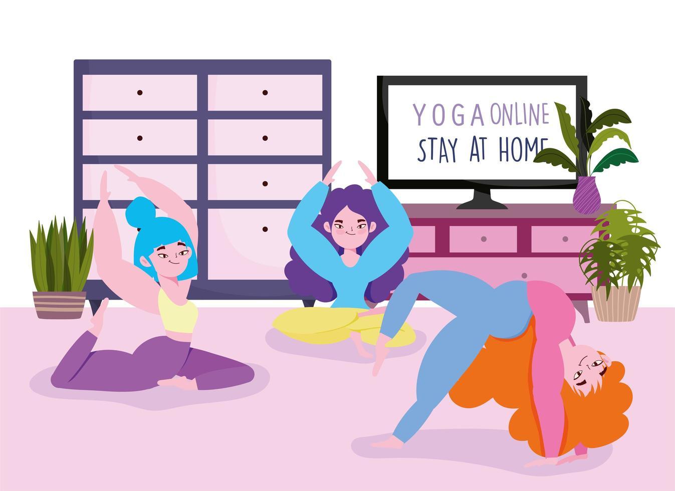 yoga en línea, mujeres jóvenes en la sala practicando diferentes posturas de yoga vector