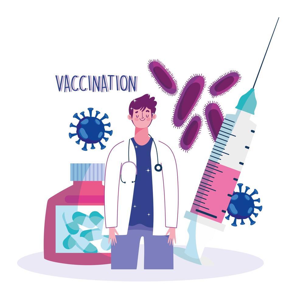 médico con jeringa y cápsula prescripción médica atención médica vacunación vector