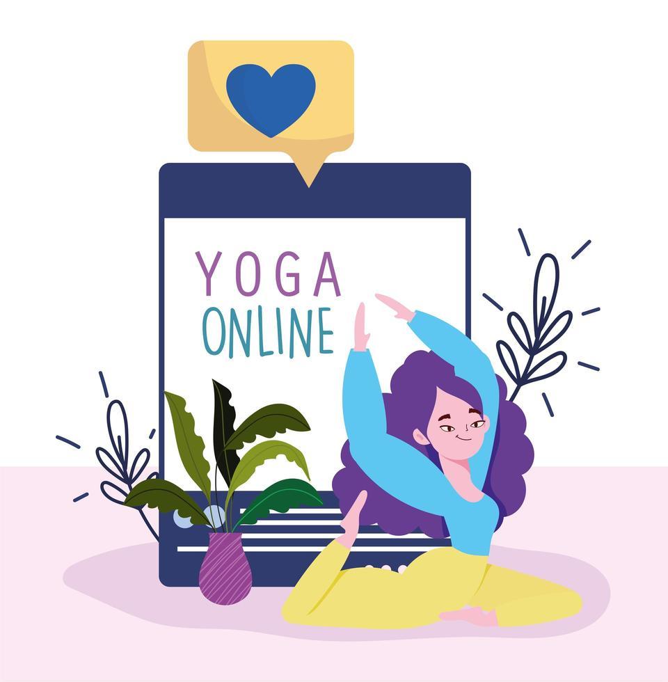 yoga en línea, mujer joven haciendo aplicación de sitio web de yoga vector